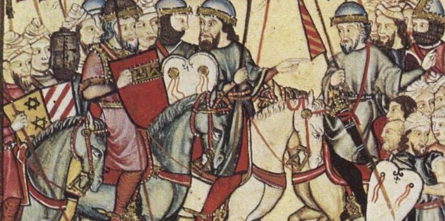 Historia de la Alhambra Miniatura de la Cantiga T187 (E185) en la que aparece representado a lomos de su caballo el rey Ibn Al-Ahmar, con túnica y escudo rojo.