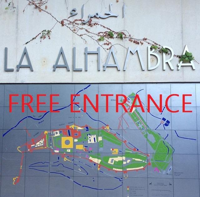 Entrada gratuita a los monumentos de Granada
